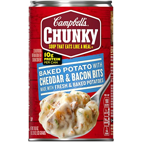 - Campbell's Chunky Baked Potato with Cheddar & Bacon Bits Soup, 18.8 oz. Can (Pack of 12)