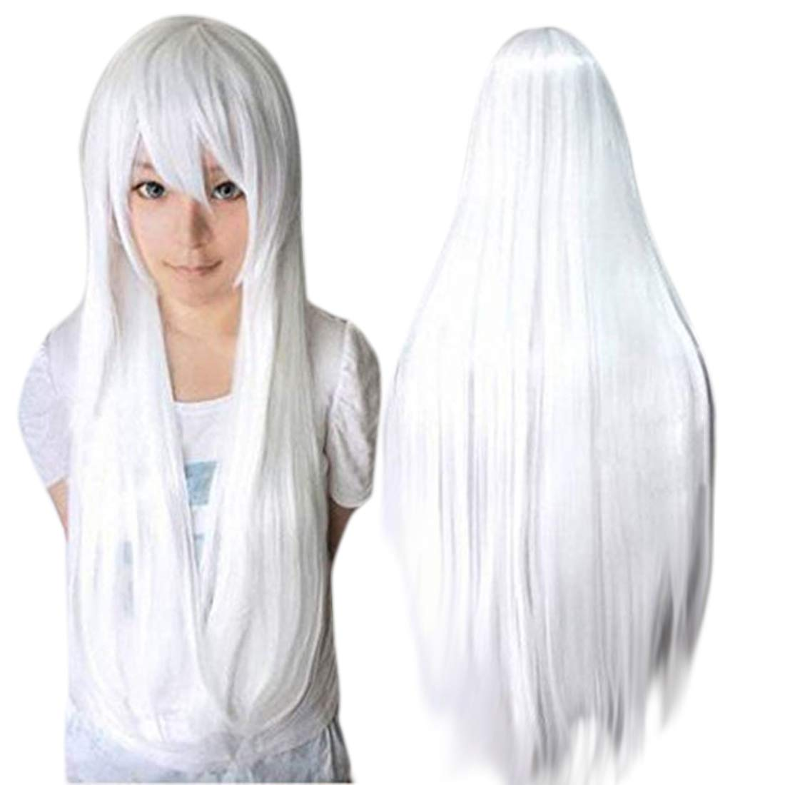 Anogol Vocaloid 32inches Long Straight Wigs Lolita White Cosplay Wig