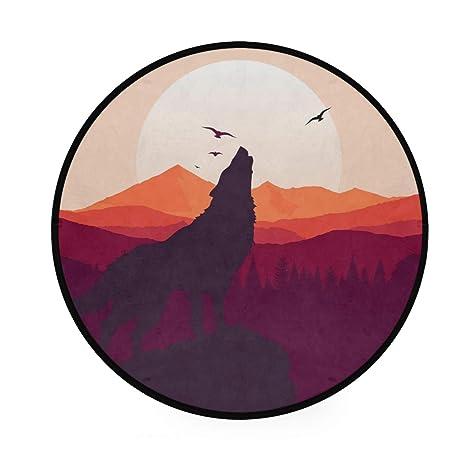 Alfombra redonda con diseño de lobo, antideslizante, suave ...
