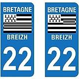 Paire Sticker immatriculation 22 - Côtes d'Armor