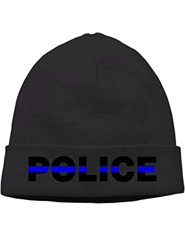 0a9ee8bf4c8 Unisex Blue Thin Line Police Winter Beanie Hat Skull Cap