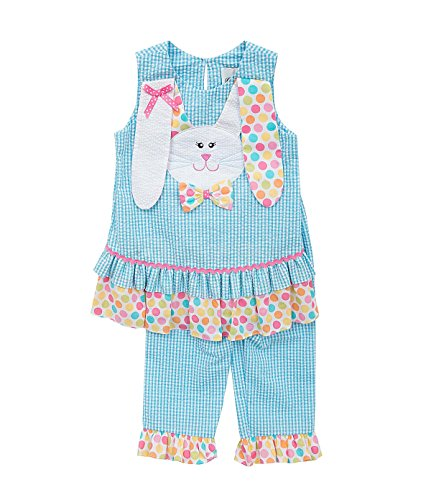 Pink Editions Rare Capris (Rare Editions Girls Seersucker Bunny Capri Outfit, Turquoise, 3T)