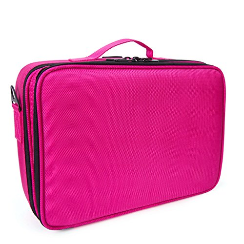 Topwigy Cosmetic Bag Clothing Portable 2 Layers Professional Multifunctional Travel Makeup Storage Case Handing Travel Toiletry Bag Shoulder Makeup Storage Bag (Rose Red)