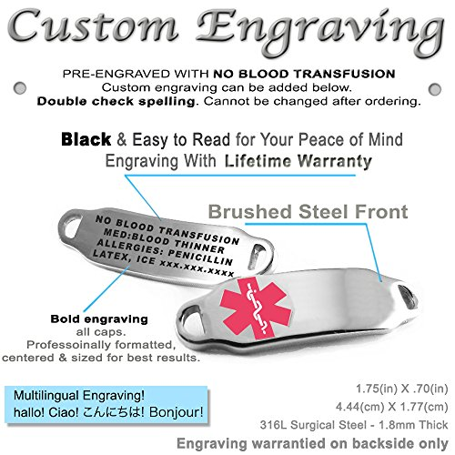 My Identity Doctor Pink Steel Hearts Pre-Engraved /& Customizable Penicillin Allergy Toggle Medical Alert Bracelet