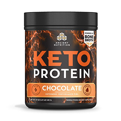 Ancient Nutrition KetoPROTEIN Powder Chocolate, 17 Servings - Keto Protein Diet Supplement, High Quality Low Carb Proteins and Fats from Bone Broth and MCT (Breakthrough Performance Oil)