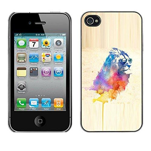 TopCaseStore / caoutchouc Hard Case Housse de protection la Peau - Cool Lion Sunglasses Watercolor Art Painting Cat - Apple iPhone 4 / 4S