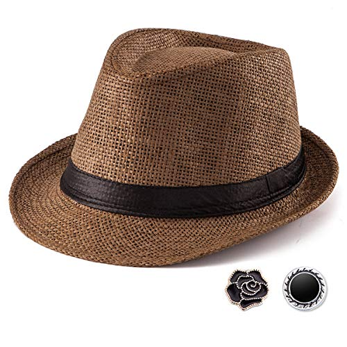 Summer Fedora Hats for Women - Coffee Straw Hat for Male Sun Hat Women Trilby