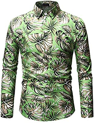 Mens Slim Fit Floral Shirt Long Sleeve Dress Shirts Party Work Casual Collar Top