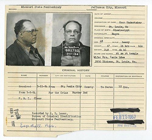 Police Booking Sheet - Gus Louis/2nd Degree Murder - Jefferson City, MO, 1954