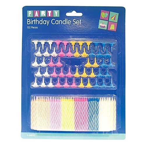 Invero® 152 Set Pack of Coloured Cake Candles with Holders for Birthday Celebrations Wedding Party or other Parties