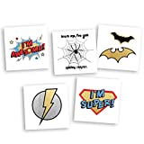 Superhero Variety Set includes 25 assorted premium waterproof colorful metallic kids temporary foil Fun Tats by Flash Tattoos, party favor