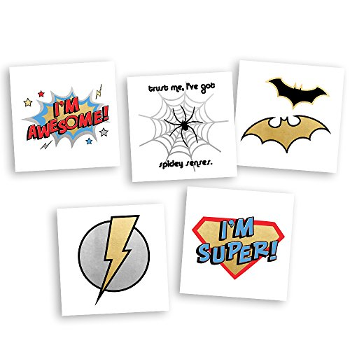 Superhero Variety Set includes 25 assorted premium waterproof colorful metallic kids temporary foil Fun Tats by Flash Tattoos, party favor by Flash Tattoos
