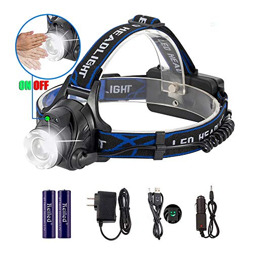 Reiled Super Bright T6 LED 4 Modes Style 1 Headlamp with PIR Sensor Switch (ON/Off by Gesture), Rechargeable, Focusable, Waterproof, Light Weight for Outdoors & 3 Modes Style 2 Headlamp (NO PIR)