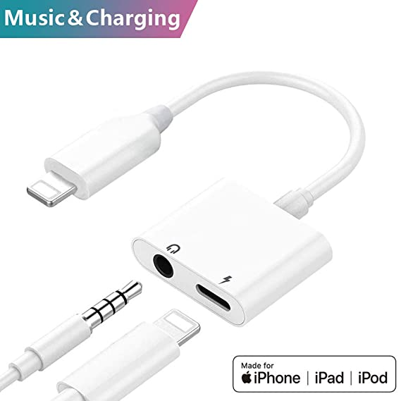 reputable site f67f8 ce2bc Headphone Jack Adapter for iPhone 2-in-1 Headphone Audio and Charge Adapter  AUX Audio Headset Accessories Cable Audio for iPhone 7/X/XS/XSM/XR/8/8 ...