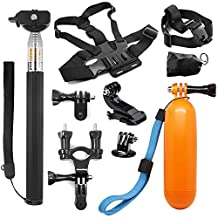 AFUNTA 5-in-1 Camera Accessories Kit for GoPro Hero 5 4 3+ 3 2 1 Black Silver, Hero 4/5 Session SJ4000 SJ5000 SJ6000, Camera Accessory Kit for Xiaomi Yi/SJCAM