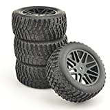 2x Front 2x Rear Rubber Buggy Short Course Ruck Tires Green Wheel Rim for RC HSP 1/10 Off-Road