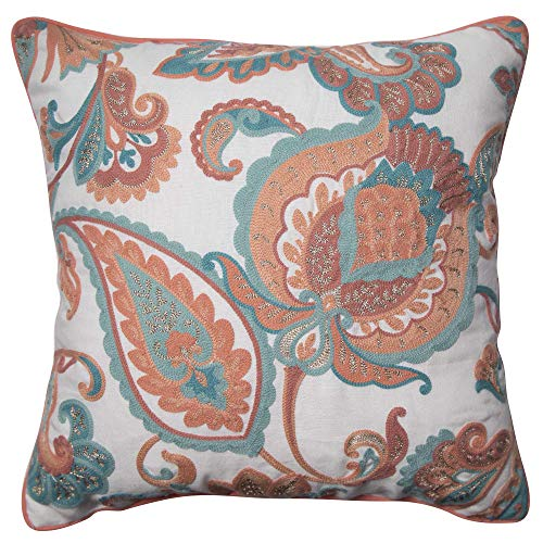 Better Homes and Gardens Paisley Floral Accent Pillow, Coral, 18