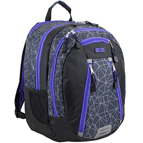 Eastsport Sport Backpack for School, Hiking, Travel, Climbing, Camping, Outdoors - Black Shatter Geo Print/ Blue Violet (Violet Trim)
