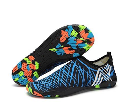 CIROHUNER Männer Frauen Leichte Multifunktionale Quick-Dry Aqua Wasser Schuhe für Beach Swim, Walk, Yoga Blau_b