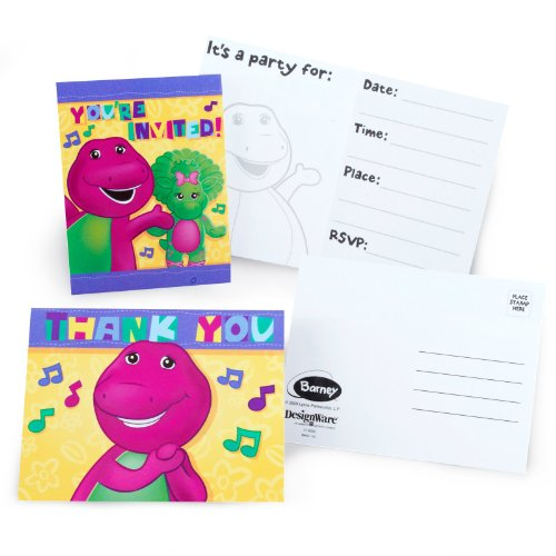 Barney Invitations (Barney Party Supplies Invitations and Thank You Notes - 8 Each)