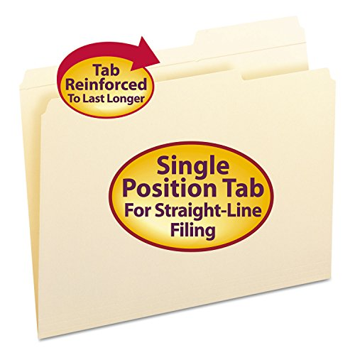 Smead 10386 Guide Height Folder 2/5 Cut Right Reinforced Top Tab Letter Manila 100/Box