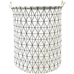 "Songsongstore 19.7"" Large Sized Waterproof Foldable Laundry Hamper Bucket,Dirty Clothes Laundry Basket, Bin Storage Organizer for Toy Collection(Geometric Pattern-White)"
