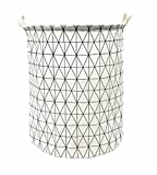 Songsongstore 19.7' Large Sized Waterproof Foldable Laundry Hamper Bucket,Dirty Clothes Laundry Basket, Bin Storage Organizer for Toy Collection(Geometric Pattern-White)