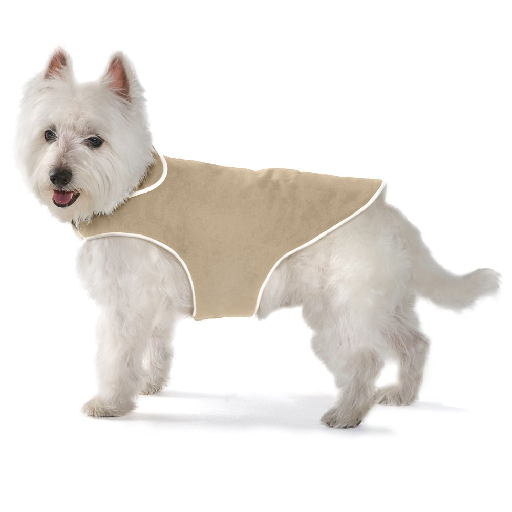 Khaki 20-Inch Khaki 20-Inch Dog Gone Smart Jacket with Ecru Piping for Dogs, 20-Inch, Khaki