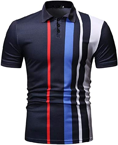 qulvyushangmaobu Camisetas para Hombre Polo de Rayas de Color Liso Elegante Camisa Casual de Golf de Ajuste Regular: Amazon.es: Ropa y accesorios
