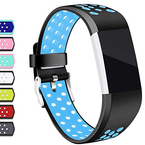 Hotodeal Compatible Fitbit Charge 2 Band, Classic Soft TPU Adjustable Replacement Accessory Bands Fitness Breathable Sport Strap Small Large Black Blue