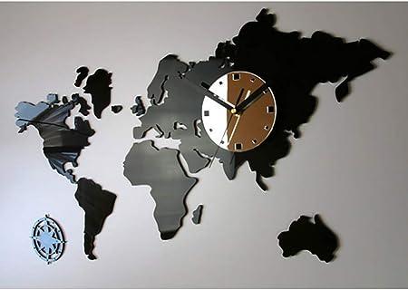 Yongchy Carte Du Monde Horloge Murale Horloge Salon Graphique Moderne Creative Mur Sourdine Bureau Horloge Murale Chambre Restaurant Bar Cafe Horloge Murale Decorative Amazon Fr Cuisine Maison