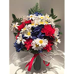 GRAVE DECOR - CEMETERY MARKER - FUNERAL ARRANGEMENT - MEMORIAL - FLOWER VASE - RED CARNATIONS, BLUE HYDRANGEAS, WHITE DAISIES - MEMORIAL DAY - VETERANS DAY - PATRIOTIC - WAR MEMORIAL 53