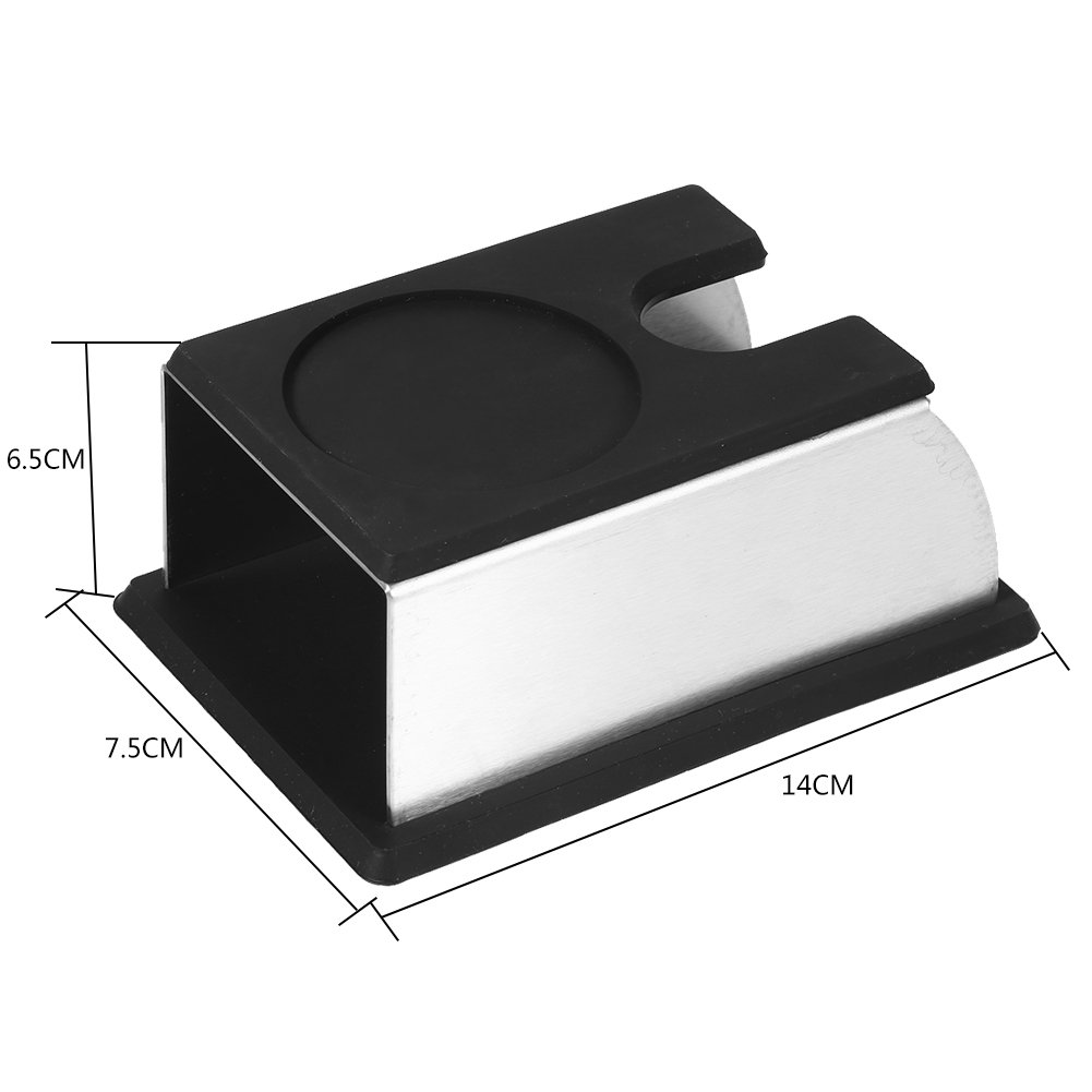 Black SoarUp Coffee Tamper Stand,Stainless Steel Sturdy Coffee Tamper Holder Coffee Powder Maker Stand Rack Silicone Tamping Mat Coffee Machine Tool