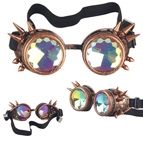 FIRSTLIKE Kaleidoscope Spike Steampunk Antique Copper Goggles Punk Goth Aviator - Class Delivery Usps Time First