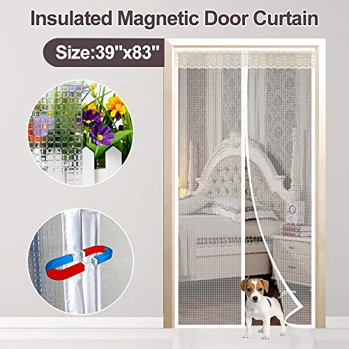 (Transparent Magnetic Thermal Insulated Door Curtain Keep Draft and Kitchen Cooking Odor, Magnets Screen Door Fits Doors Up to 36