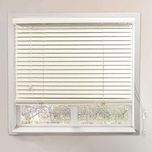 Chicology Faux Wood Blinds / window horizontal 2-inch venetian slat, Faux Wood, Variable Light Control - Simply White, 35