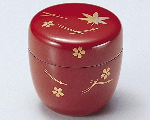 Tea Caddy Japanese Natsume Echizen Urushi Lacquer Matcha Container Sakura Momiji Fukiyose Shu by Echizen Urushi