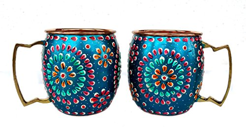 Rastogi Handicrafts Handmade Pure Copper Outer Hand Painted Art Work Wine, Vodka, Beer,Cocktail,Juice, Cold Coffee Mug - Cup 16 oz (2) ()