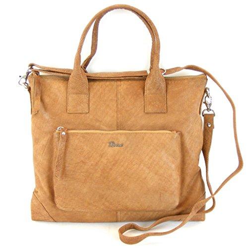Pavini Damen Tasche Shopper Dallas Leder cognac 12195 Reißverschluss Handyfach