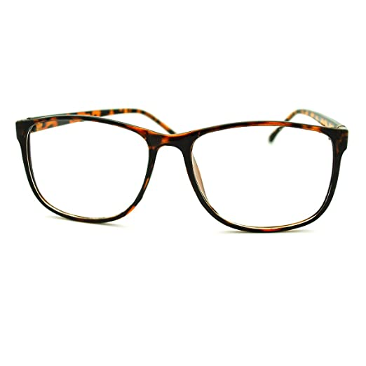 Amazon.com: Tortoise Square Clear Lens Eyeglasses Oversized Thin ...