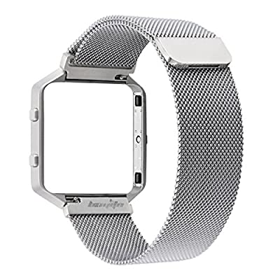 bayite Milanese Stainless Steel Bands with Metal Frame for Fitbit Blaze , Large Small Silver Rose Gold