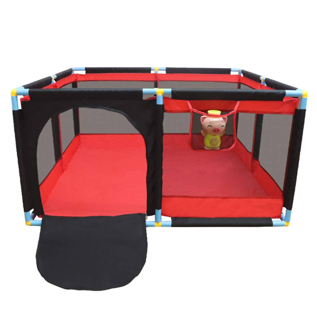 ゲームフェンス屋内の赤ちゃんの幼児バー 家庭の赤ちゃんのクロールマットの幼児のフェンス 子供の破砕抵抗フェンスのフェンス (Color : Red, Size : 128*128*66cm) 128*128*66cm Red B07K484RNN