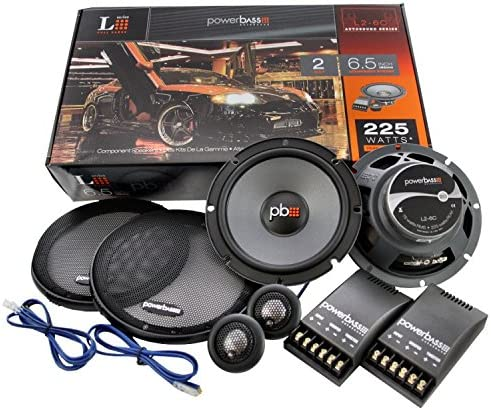 "PowerBass S-6C 6-1//2/"" 6.5/"" 2-Way 225 Watts Car Audio Component Speakers Pair"