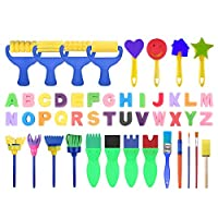 GreatGiftList Kids Art & Craft 47 Pieces Sponge Painting Brushes Kids Painting Kits Early DIY Learning