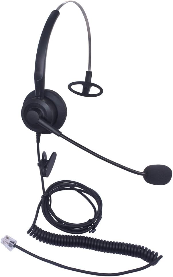 Xintronics Auriculares Teléfono Fijo Monoaurale RJ9, Cascos con Cancelación de Ruido Micrófono para Yealink SIP T19P T20P T21P T22P T26P T28P Avaya 1608 1616 9608G 9641G(X10G1)