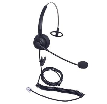 Xintronics Auriculares Teléfono Fijo Monoaurale RJ9, Cascos con Cancelación de Ruido Micrófono para Yealink SIP