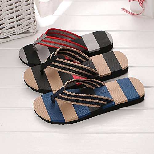 Corriee Mens Fashion Striped Printed Indoor Outdoor Flip Flops Breathable Anti-Slip Shoes Male Summer Slippers Black by Corriee (Image #4)
