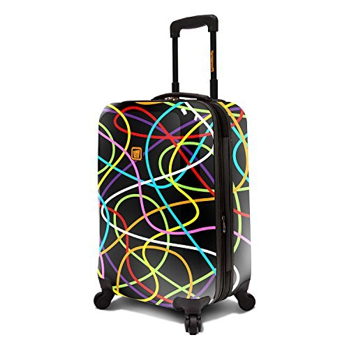 Loudmouth Black Scribblz 22'' Expandable Carry-On Spinner Luggage by Loudmouth