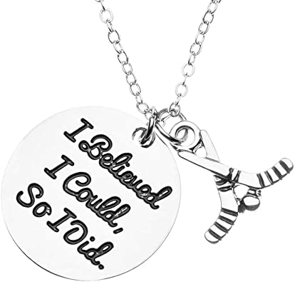 Gift for Girl /& Women Hockey Players Infinity Collection Hockey Charm Necklace Girls She Believed She Could So She Did Jewelry