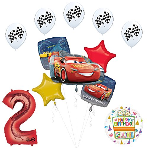 Disney Cars 3 Lightning McQueen 2nd Birthday Party Supplies and Balloon -